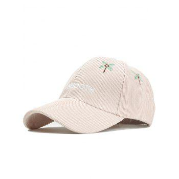 Letter and Coconut Tree Embroidery Adjustable Corduroy Baseball Hat - BEIGE BEIGE
