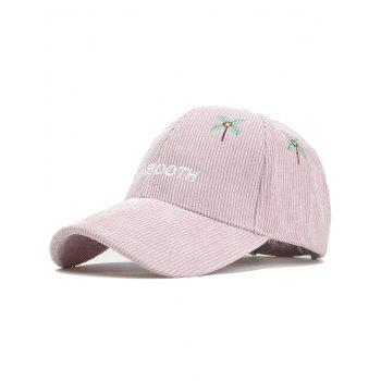Letter and Coconut Tree Embroidery Adjustable Corduroy Baseball Hat - PINK PINK