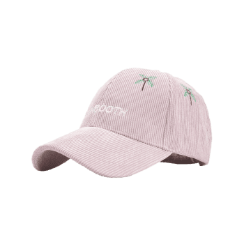 Letter and Coconut Tree Embroidery Adjustable Corduroy Baseball Hat - PINK