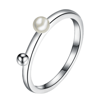 Faux Pearl Alloy Ball Finger Ring - SILVER 8