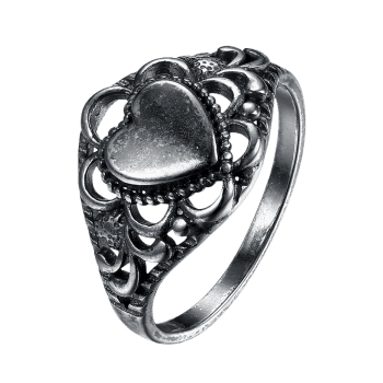 Retro Alloy Heart Finger Ring - SILVER 7