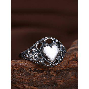 Retro Alloy Heart Finger Ring - SILVER 9