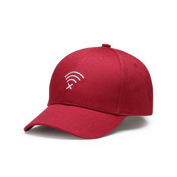 Funny WIFI No Signal Decoration Baseball Hat - WINE RED WINE RED