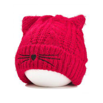 Funny Kitty Ear Decoration Knitted Lightweight Beanie - RED RED