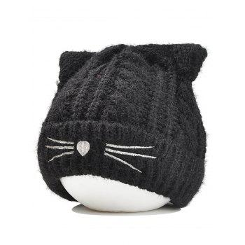 Funny Kitty Ear Decoration Knitted Lightweight Beanie - BLACK BLACK