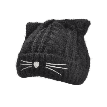 Funny Kitty Ear Decoration Knitted Lightweight Beanie -  BLACK