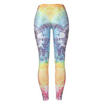 Print Fitted Bohemian Leggings - COLORMIX M