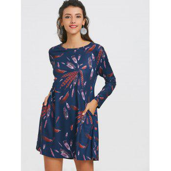 Long Sleeve Feather Print Dress - CADETBLUE CADETBLUE