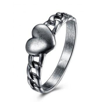 Vintage Alloy Chain Heart Ring - SILVER SILVER