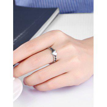 Vintage Alloy Chain Heart Ring - SILVER 9