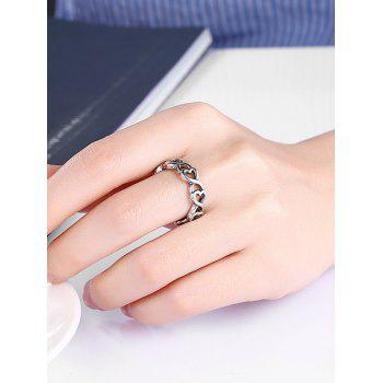 Unique Alloy Heart Finger Ring - SILVER 6