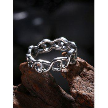 Unique Alloy Heart Finger Ring - SILVER 7