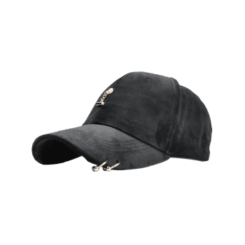 Outdoor Metal Bar Decorated Corduroy Baseball Cap - BLACK