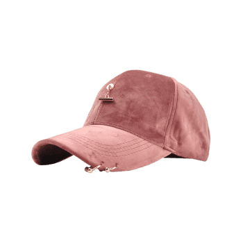 Outdoor Metal Bar Decorated Corduroy Baseball Cap -  PINK