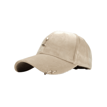 Outdoor Metal Bar Decorated Corduroy Baseball Cap - BEIGE