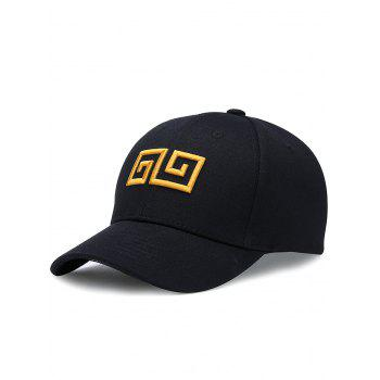 Outdoor Geometric Pattern Embroidery Graphic Hat - BLACK BLACK