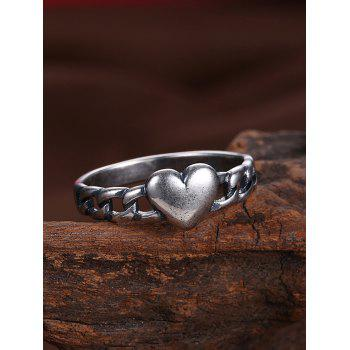 Vintage Alloy Chain Heart Ring - SILVER 6