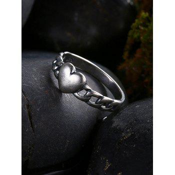 Vintage Alloy Chain Heart Ring - SILVER 8