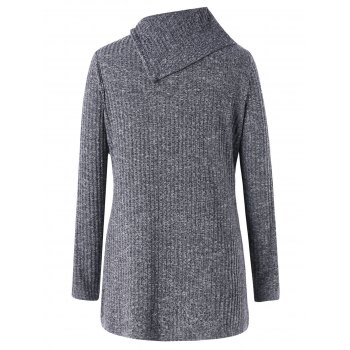 Wide Flat Collar Plus Size Ribbed Sweater - GRAY GRAY