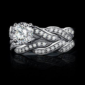 Artificial Diamond Couple Rings - SILVER 6