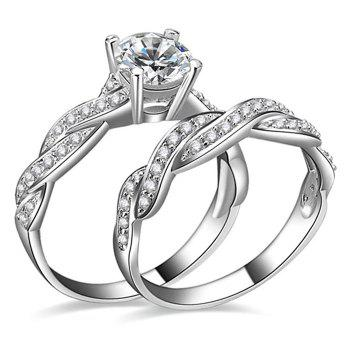 Artificial Diamond Couple Rings - SILVER SILVER