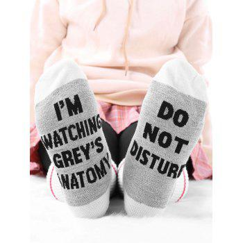 Pair Of Letter Crew Graphic Socks - GRAY GRAY
