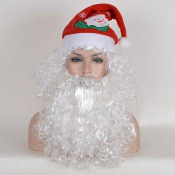 Short Fluffy Curly Santa Claus Cosplay Synthetic Wig With Beard and Cap - WHITE WHITE