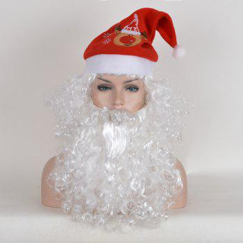 Short Fluffy Curly Santa Claus Cosplay Synthetic Wig With Beard and Cap - WHITE