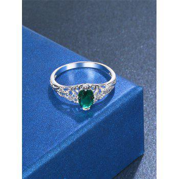 Fake Emerald Hollow Out Ring - SILVER 7