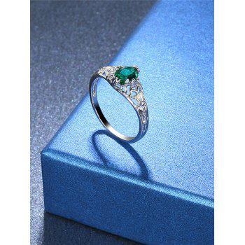 Fake Emerald Hollow Out Ring - SILVER 8