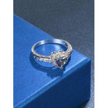 Fake Diamond Hollow Out Heart Ring - SILVER 7
