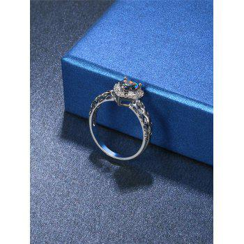 Fake Diamond Hollow Out Heart Ring - SILVER SILVER