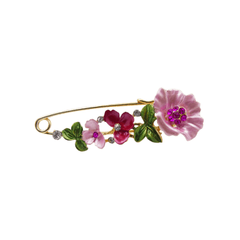 Artificial Diamond Flower Brooch Pin - TUTTI FRUTTI