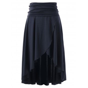 Multi-wear Asymmetrical High Low Skirt - BLACK BLACK