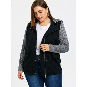 Plus Size Drawstring Hooded Jacket - GRAY XL
