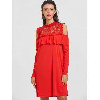 Lace Trim Cold Shoulder Ruffle Dress - RED RED