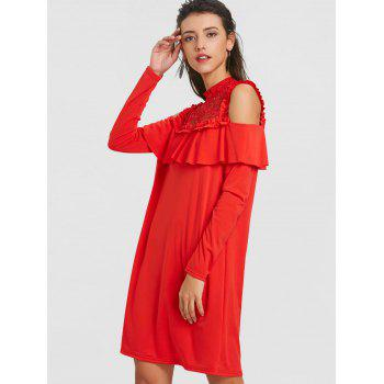 Lace Trim Cold Shoulder Ruffle Dress - RED XL