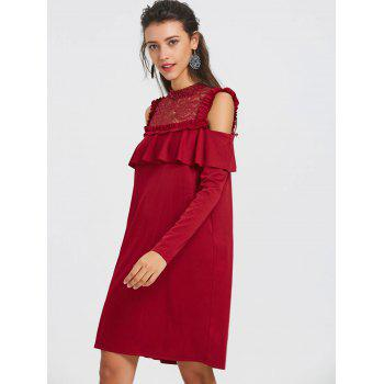 Lace Trim Cold Shoulder Ruffle Dress - WINE RED WINE RED