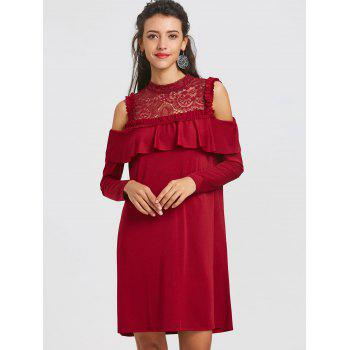 Lace Trim Cold Shoulder Ruffle Dress - WINE RED S