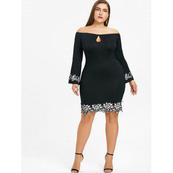 Off The Shoulder Plus Size Bodycon Dress - BLACK BLACK