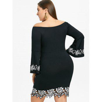 Off The Shoulder Plus Size Bodycon Dress - BLACK 5XL