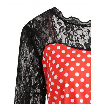 Dentelle Insert Plus Size Color Block Polka Dot Robe Vintage - Rouge 2XL