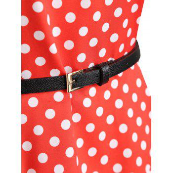 Lace Insert Plus Size Color Block Polka Dot Vintage Dress - RED RED