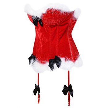 Christmas Velvet Corset Top with Faux Fur Hem - RED XL