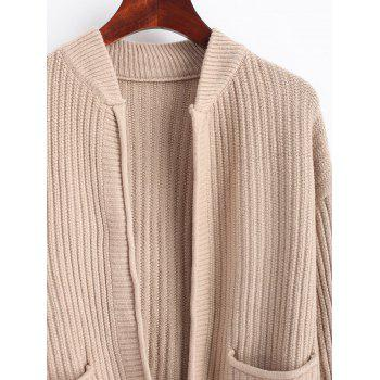 Ripped Open Cardigan with Pockets - KHAKI ONE SIZE