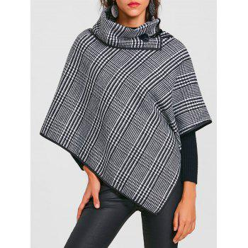 Turtleneck Asymmetrical Printed Wool Cape