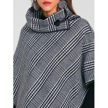 Turtleneck Asymmetrical Printed Wool Cape - CHECKED ONE SIZE