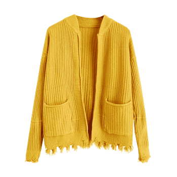 Ripped Open Cardigan with Pockets - YELLOW ONE SIZE