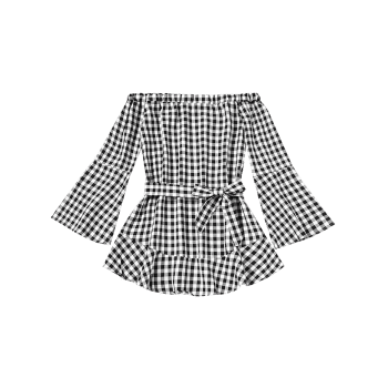 Plaid Off Shoulder Belted Mini Dress - CHECKED L