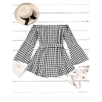 Plaid Off Shoulder Belted Mini Dress - CHECKED M